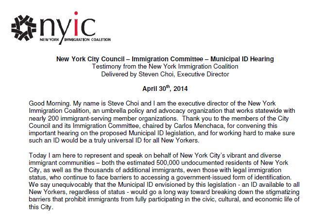 NYIC City Council Testimony on Municipal Identity Cards