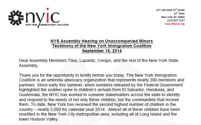 NYIC Testimony at NYS State Assembly on Unaccompanied Minors