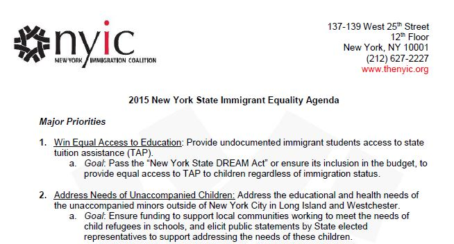 2015 New York State Immigrant Equality Agenda