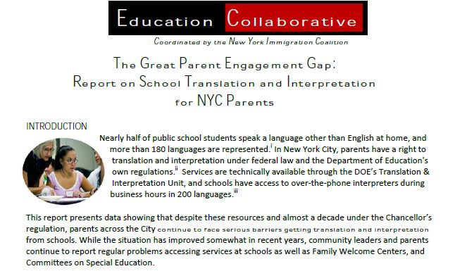 The Great Parent Engagement Gap: Report on School Translation and Interpretation for NYC Parents