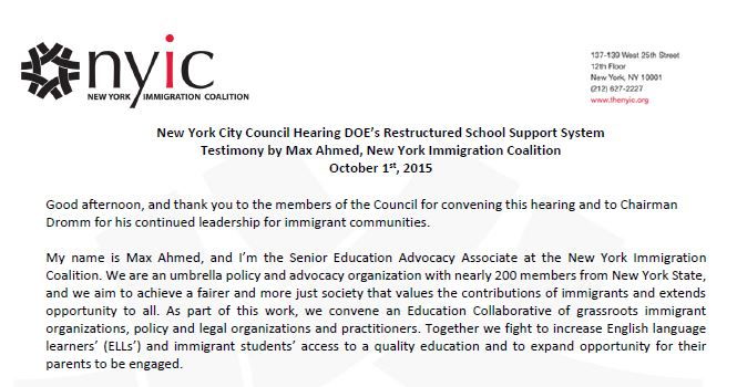 Testimony: NYC Council Hearing DOE's Restructured School Support System