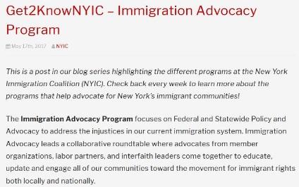 Get2KnowNYIC – Immigration Advocacy Program