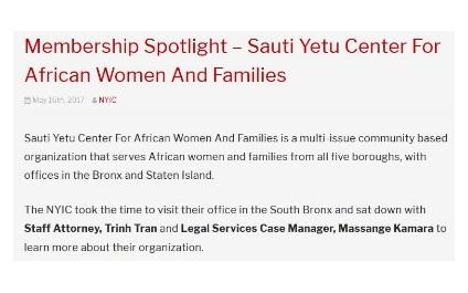 Membership Spotlight – Sauti Yetu Center For African Women And Families