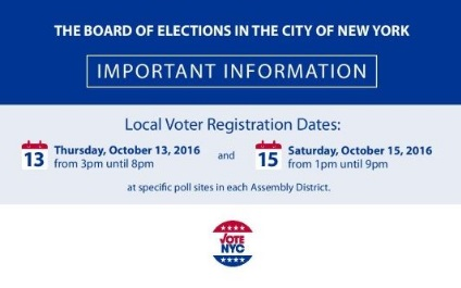 Register to Vote in Person on October 15!